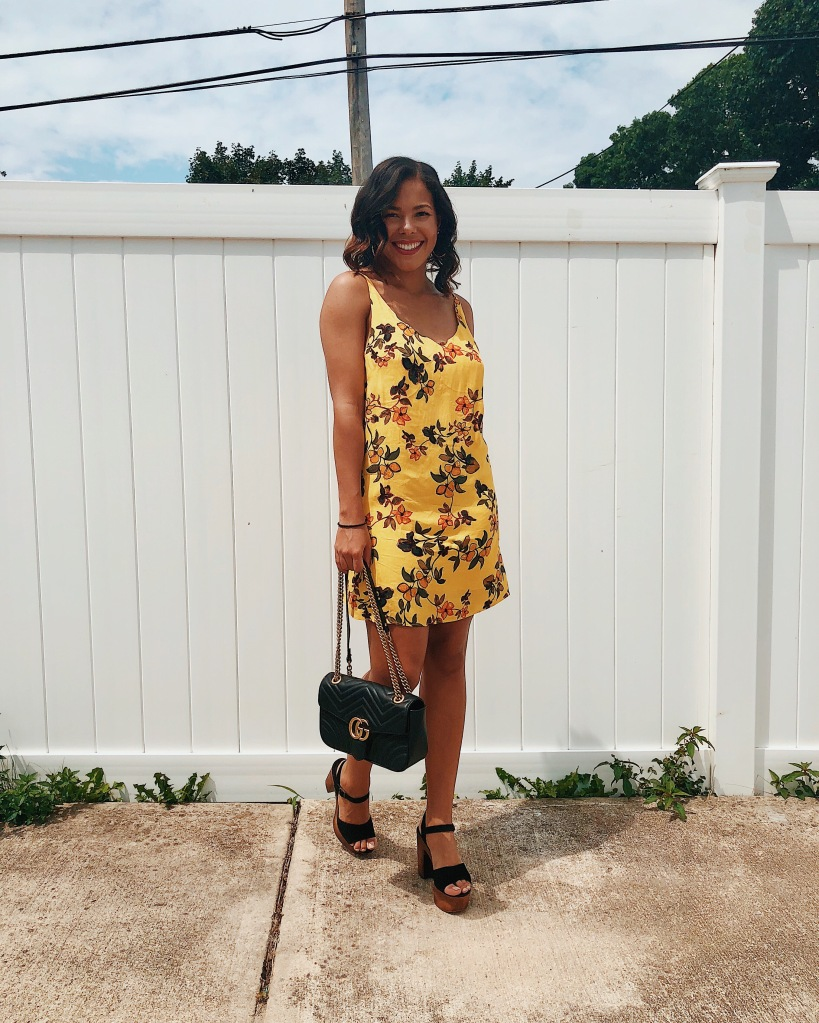 Karen Faye Style - Cute and Easy Summer Date Night Outfit featuring a yellow floral dress from Urban Outfitters. black platform heels from Steve Madden and a black Gucci Marmont Bag