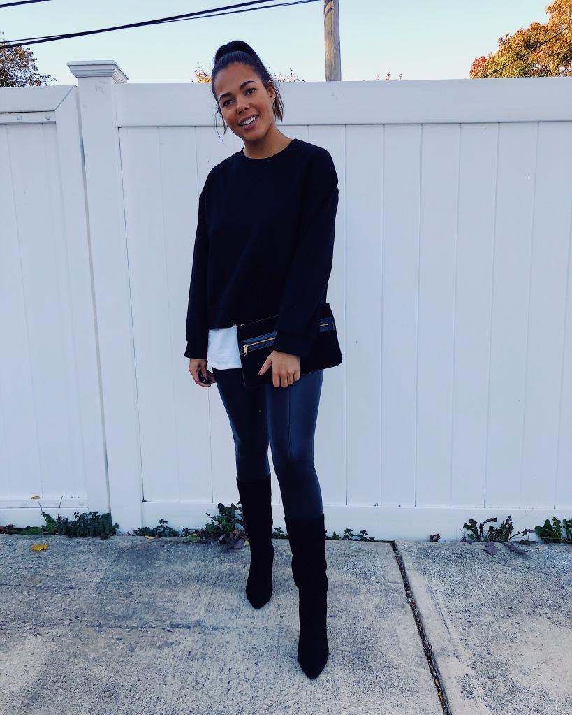 Karen Faye Style - Fall All Black OOTD featuring Zara, Target, Topshop & Something Navy